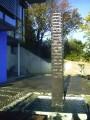 Basaltstele - offenes Brunnenstele, Basalt 196cm x 26 cm x18 cm, offenes Becken