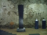 Brunnen Basalt, gedreht aufgeschichtet mit Acryl, 240cm x 50 cm x 50 cm